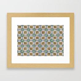 Mediterranean Vintage Blue and Orange Tiles Framed Art Print