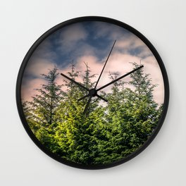 Cloudy Day in the Pine Forest Wall Clock