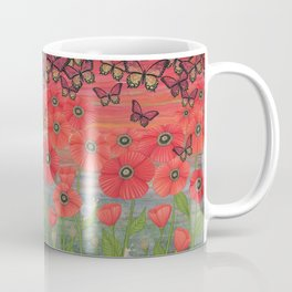 red sky, butterflies, poppies, & snails Coffee Mug