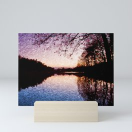 Sweden, small lake at dusk with trees reflection Mini Art Print
