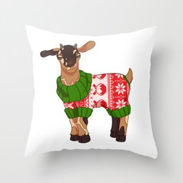 Toasted S'more Christmas Sweater Goat Throw Pillow