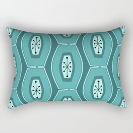 Midcentury Funky Chain Pattern Teal Rectangular Pillow