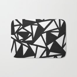 abstract black and white broken triangles pattern Bath Mat