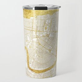 New Orleans Map Gold Travel Mug