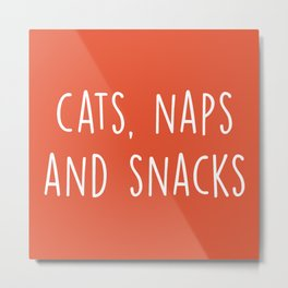 Cats, Naps And Snacks Funny Saying Metal Print
