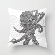 Octopus Bloom black and white Throw Pillow