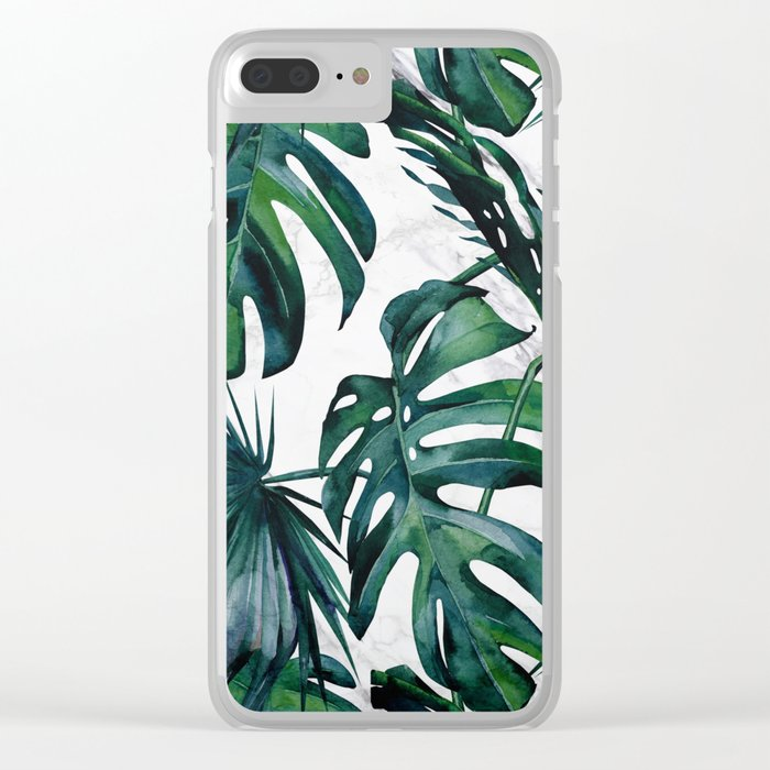 Tropical Palm Leaves Classic on Marble Clear iPhone Case