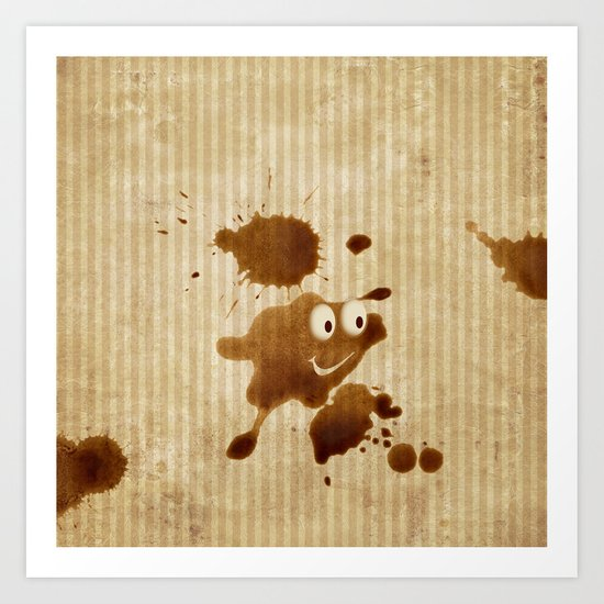 The Smile of Coffee Drop - Old Paper Style Art Print