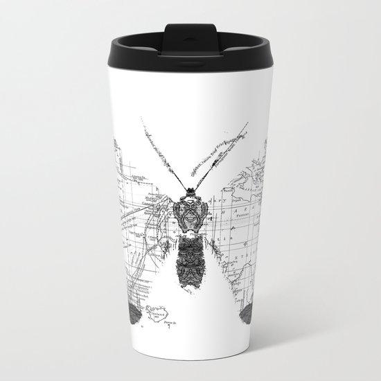 Butterfly Wanderlust Black and White Metal Travel Mug