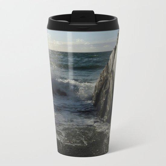 Black Rock, White Light. Metal Travel Mug