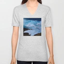 Tropical Hawaii Island Crashing Waves and Bubbling Surf Unisex V-Neck