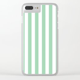 Mint Green Small Even Stripes Clear iPhone Case