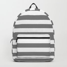Narrow Horizontal Stripes - White and Gray Backpack