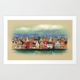 House, Bruges, Belgium Art Print
