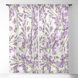 Boho forest green lavender lilac wisteria floral pattern Sheer Curtain