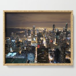 Chicago By Night Serving Tray