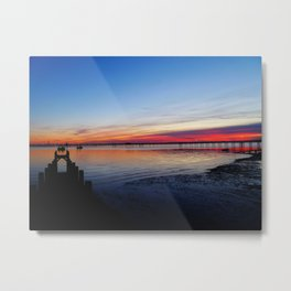 Sunset on the Shore of Southend Metal Print