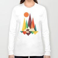 whimsical Long Sleeve T-shirts featuring Bear In Whimsical Wild by Picomodi