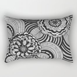 Flowers Abstract monochrome drawing pattern Rectangular Pillow