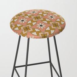 Bold Midcentury Tile Pink Bar Stool