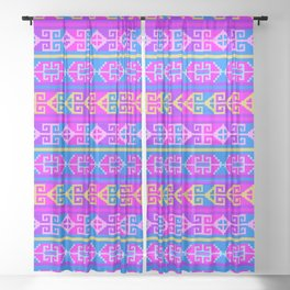 Colorful Mexican Aztec geometric pattern Sheer Curtain
