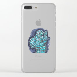 Cyberpunk Power Armor Android with Broken Sword Clear iPhone Case