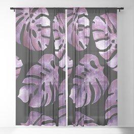 Monstera Purple Sheer Curtain