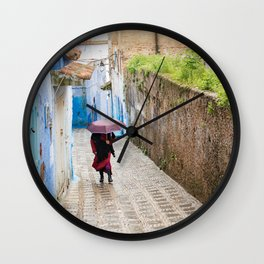 Rainy Day in Chefchaouen, The Blue City of Morocco Wall Clock