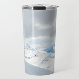 Switzerland snow mountain peaks with a winter landscape Travel Mug