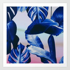 Cobalt blue tropical leaves Art Print