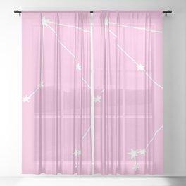 Libra (White & Pink Sign) Sheer Curtain