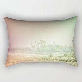 Colors of Dreamy Taj Mahal in the Morning Mist Behind the Yamuna River Rectangular Pillow