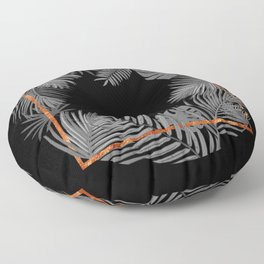 TROPICAL SQUARE COPPER BLACK AND GRAY Floor Pillow