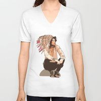 indie V-neck T-shirts featuring Indie Chief by joshuahillustration