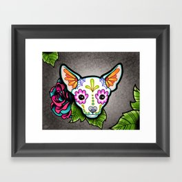 Chihuahua in White - Day of the Dead Sugar Skull Dog Framed Art Print