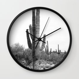 Cactus, Cacti, Black and White Wall Clock