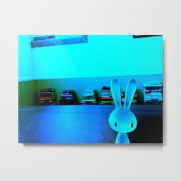 Neon Bunny Metal Print