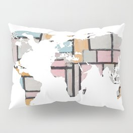 World Map Silhouette - Abstract Piet Mondrian (Wh) Pillow Sham