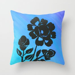 Rose Silhouette with Painted Blue Background Throw Pillow
