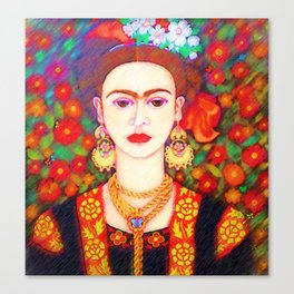 My other Frida Kahlo with butterflies Canvas Print