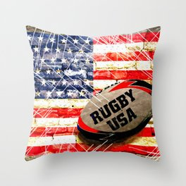 American Rugby Throw Pillow