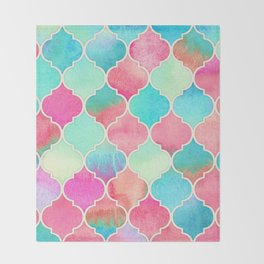 Watercolor Moroccan Patchwork in Magenta, Peach & Aqua Throw Blanket