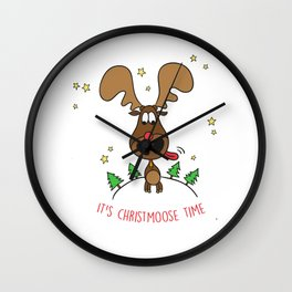 Santa Reindeer Xmas Christmas Day Gift Christmoose Time Wall Clock