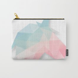 Unicorn Cute Gradient Pink, Blue, Green, Yellow Pastel Geometry Polygon Design Illustration Carry-All Pouch