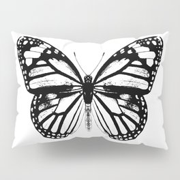 Monarch Butterfly   Vintage Butterfly   Black and White   Pillow Sham