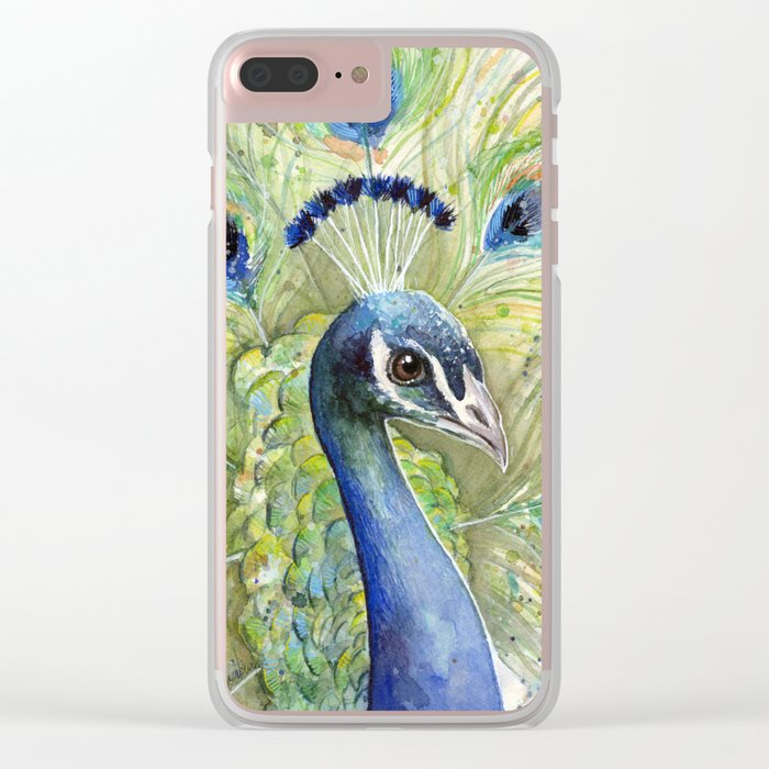 Peacock Watercolor Painting   Exotic Birds Clear iPhone Case