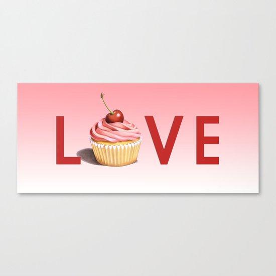 Perfect Pink Cupcake LOVE Canvas Print