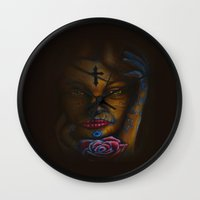day of the dead Wall Clocks featuring Day of the Dead by Robin Curtiss
