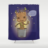 groot Shower Curtains featuring Groot by Lalu - Laura Vargas