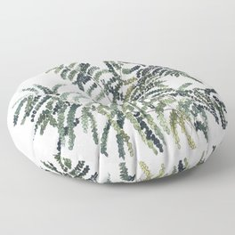 Woodland Fern Botanical Watercolor Illustration Painting Floor Pillow